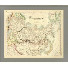 Россия в Европе, Азии и Америке. Старинная карта. 1855 год