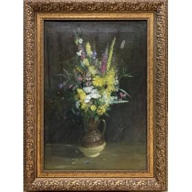 Антикварная картина Полевые цветы