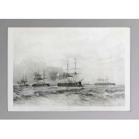 Антикварная гравюра Российская эскадра в Тулоне