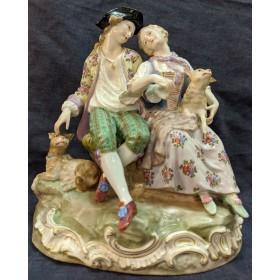Фарфоровая статуэтка Кавалер и дама на прогулке