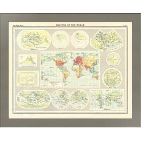 Антикварная карта Картография мира. 1922г. История изучения Земли