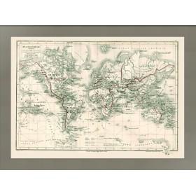 Карта Великие географические экспедиции на карте Мира. 1868г.
