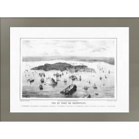 Антикварная карта. Кронштадт. Старинная литография. 1855 год.