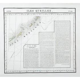 Антикварная карта Курильские острова: русские экспедиции
