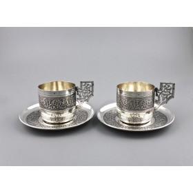 Старинные серебряные кофейные пары в кофре
