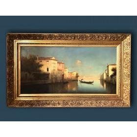 Старинная картина с венецианским пейзажем