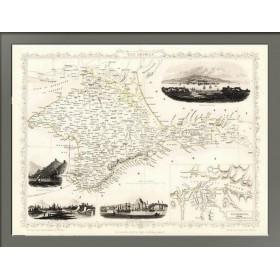 Старинная карта Крыма с планом Севастополя