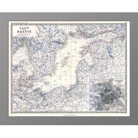 Карта Балтийского моря с планом Санкт-Петербурга