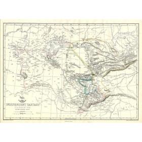 Антикварная карта независимой Тартарии или Туркестана (нынешнего Казахстана и азиатских республик), 1861 год