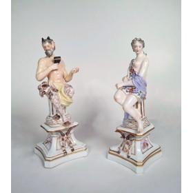 "Фарфоровые статуэтки ""Сатир и Нимфа"" Edme Samson"