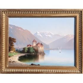 Антикварная картина замок Шильон