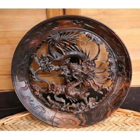 Старинное Панно Небесный дракон, из спила Мунского эбена