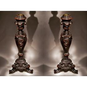 Купить старинные подсвечники из красного дерева стиль РОКОКО