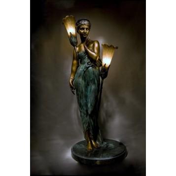 Антикварная бронза Старинный светильник по модели Клер Колине