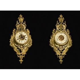 Антикварная пара французских настенных картелей - часы и барометр