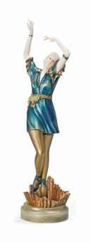 Кабинетная скульптура Арт-деко Доротея Шарол. Танцовщица в зелёном