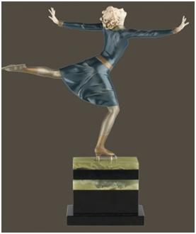 Кабинетная скульптура Арт-деко Прайсс Фердинанд. Фигуристка.
