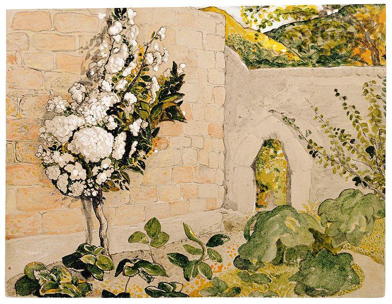 Английская живопись, Художник С.Палмер Персиковое дерево в саду обнесённом стеной 1829