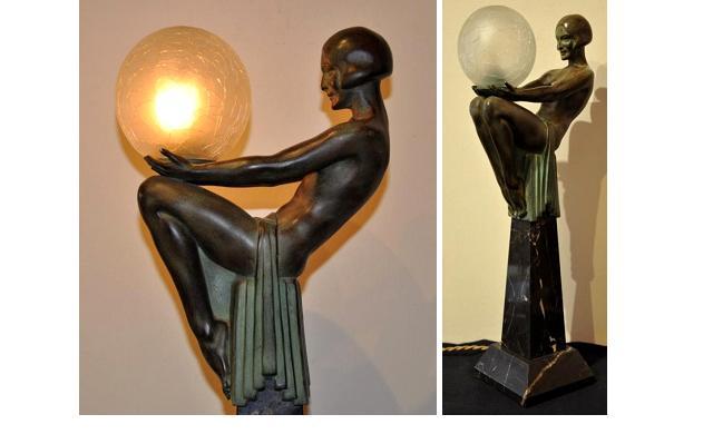 Кабинетная скульптура Арт-деко Макс Ле Верье. Загадка. Лампа.