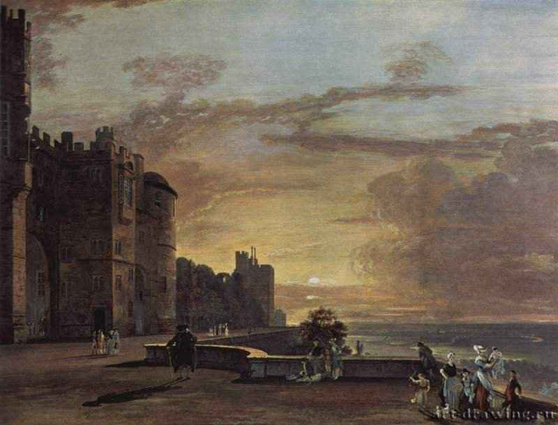 Английская живопись, картина  П. Сэндби Виндзорский замок.1760