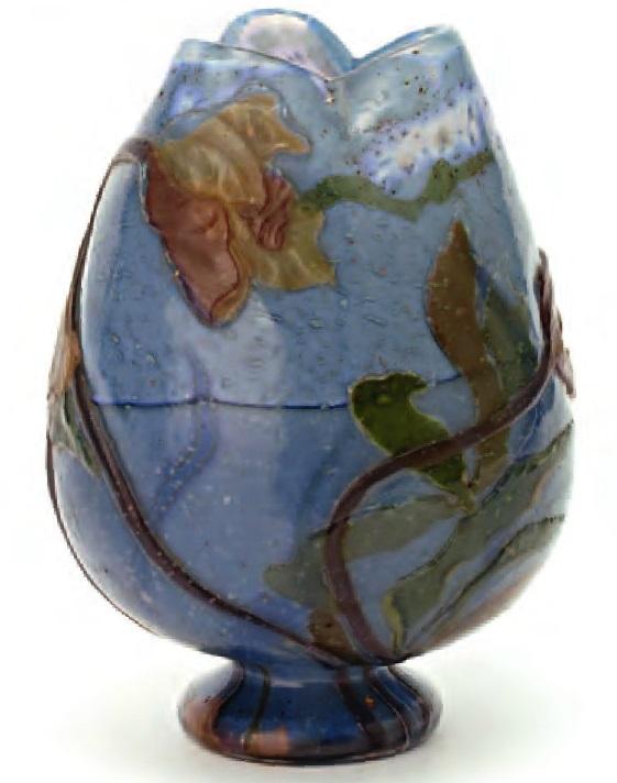 Старинное стекло Модерн, ваза с изображением цикламена мануфактура галле
