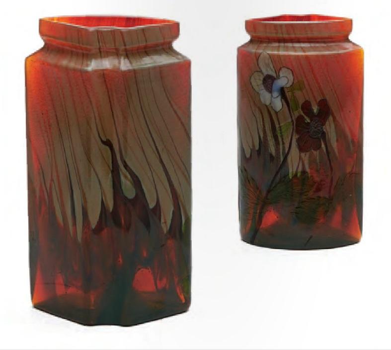 Старинное стекло МОДЕРН, эмиль галле ваза с изображением анемонов 1900