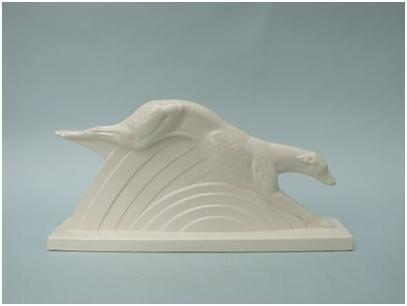 Кабинетная скульптура Арт-деко Шарль Лемансо. Борзая в прыжке