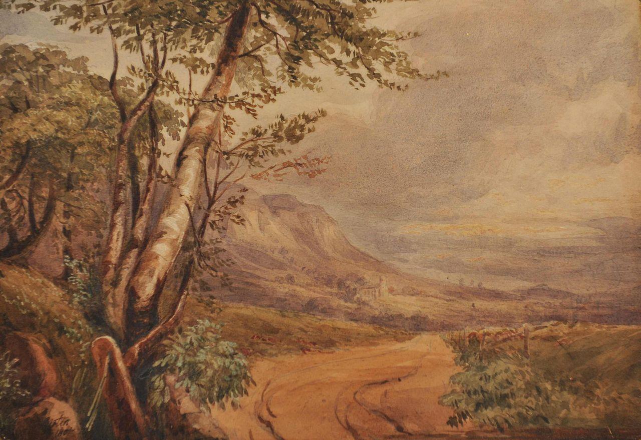 Английская живопись, картина Т.Гёртин. В Шотландии у Драйбурга.1801