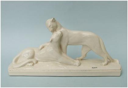 Кабинетная скульптура Арт-деко Фонтенель. Умывающиеся пантеры