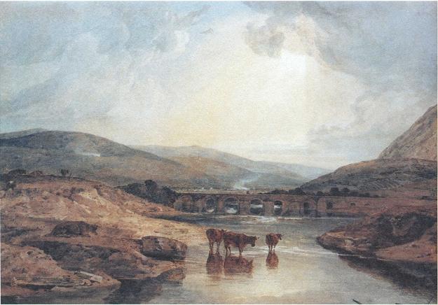 Английская живопись, картина Д.У.Тёрнера. Абергавенский мост. 1815