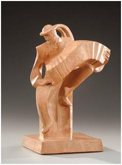 Кабинетная скульптура Арт-деко Жан и Жоэль Мартель. Аккордеонист.  Около 1930 г.