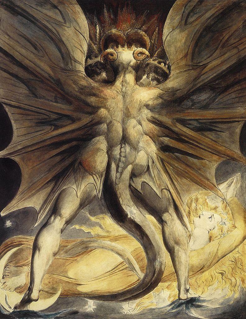 Английская живопись, Художник У. Блейк.Великий красный дракон и жена одетая в солнце.1805