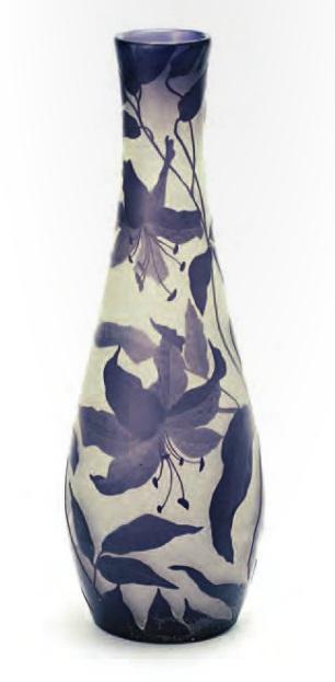 Старинное русское стекло модерн, Гусевская хрустальная фабрика рисунок И. Шпинара Ваза с изображением лилий 1914 - 1917