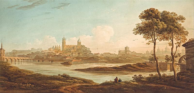 Английская живопись, Художник Д. Варли. Город на реке.1820